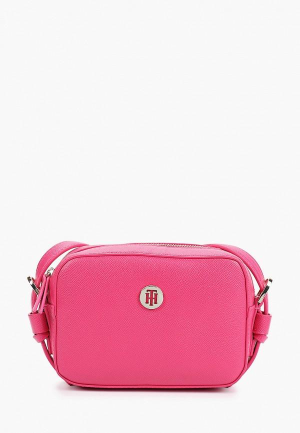 женская сумка tommy hilfiger, розовая