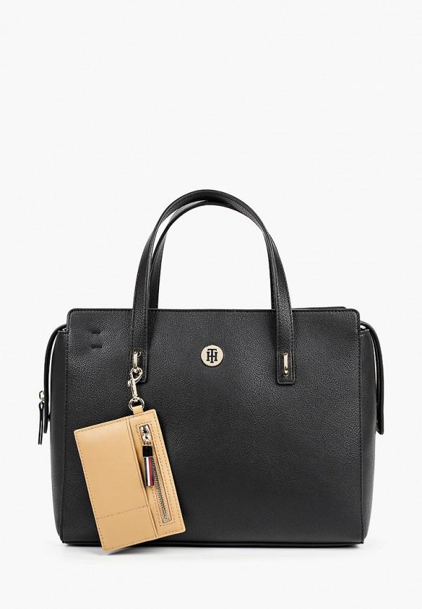 женская сумка с ручками tommy hilfiger, черная