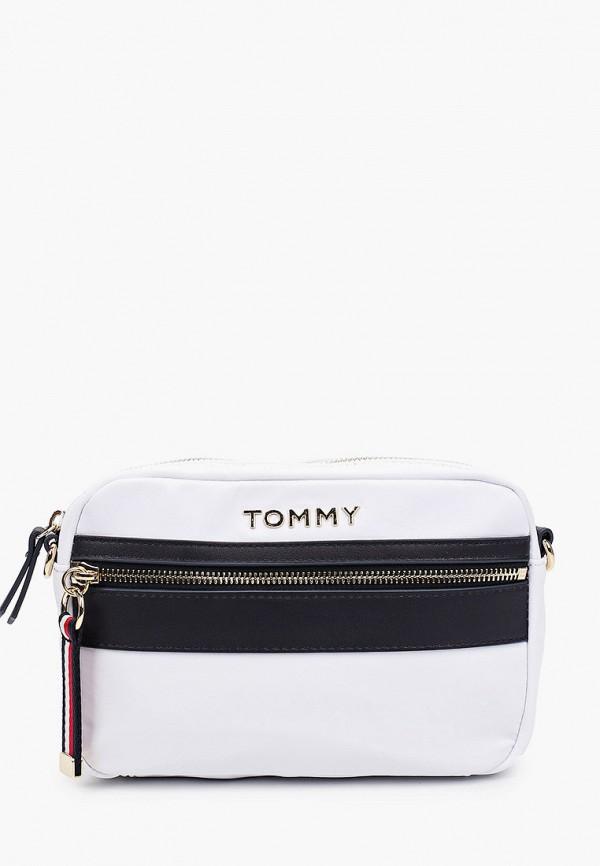 женская сумка через плечо tommy hilfiger, белая