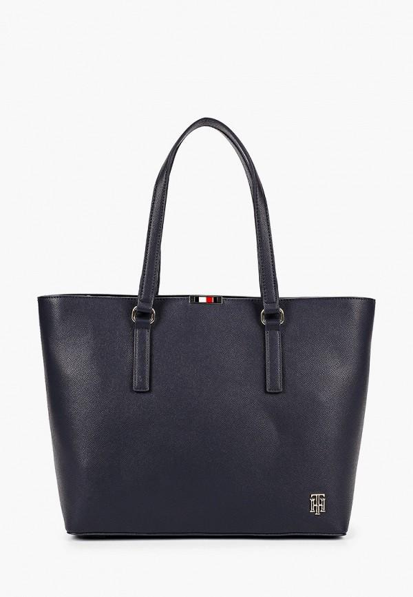 женская сумка с ручками tommy hilfiger, синяя