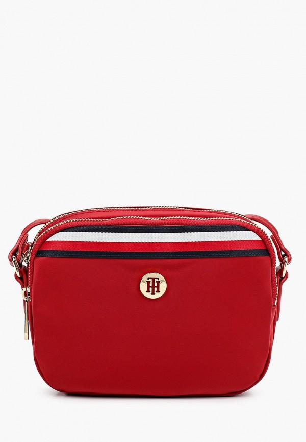 женская сумка через плечо tommy hilfiger, красная