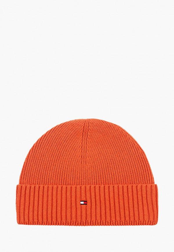 мужская шапка tommy hilfiger, оранжевая