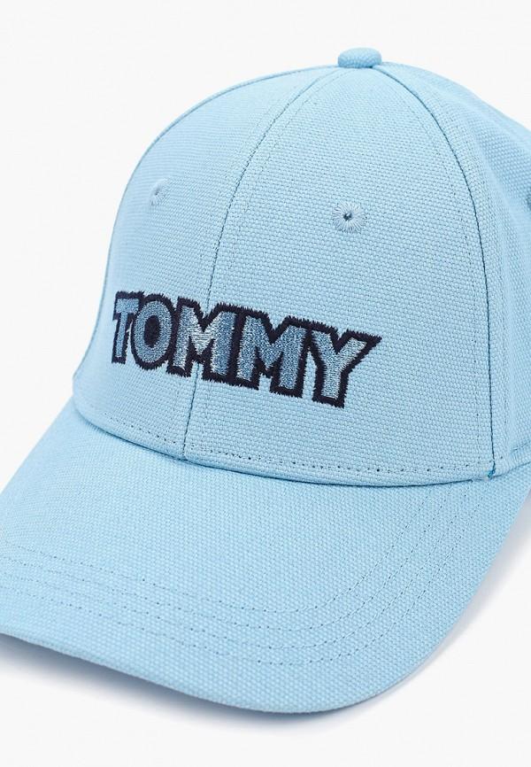Фото 3 - женскую бейсболку Tommy Hilfiger голубого цвета