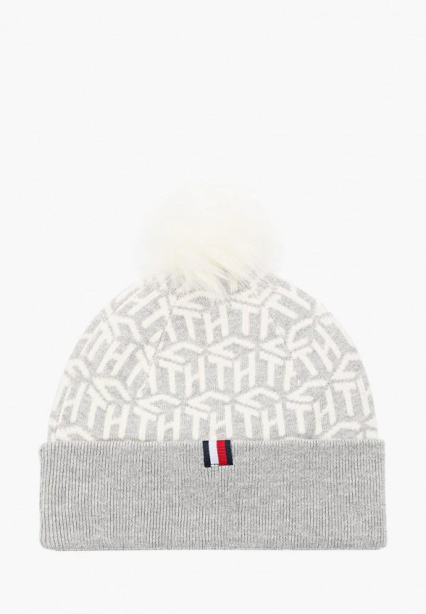женская шапка tommy hilfiger, серая
