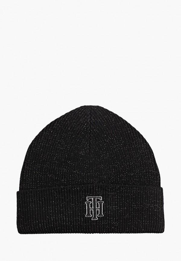 женская шапка tommy hilfiger, черная