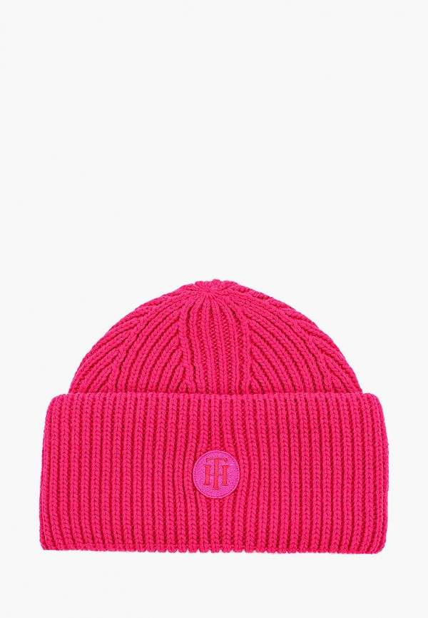 женская шапка tommy hilfiger, розовая