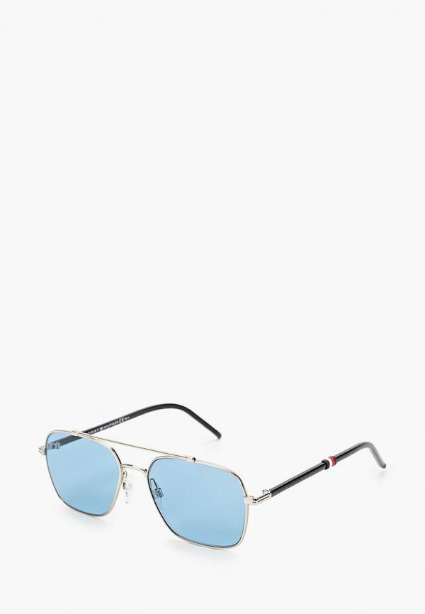 мужские солнцезащитные очки tommy hilfiger, серебряные