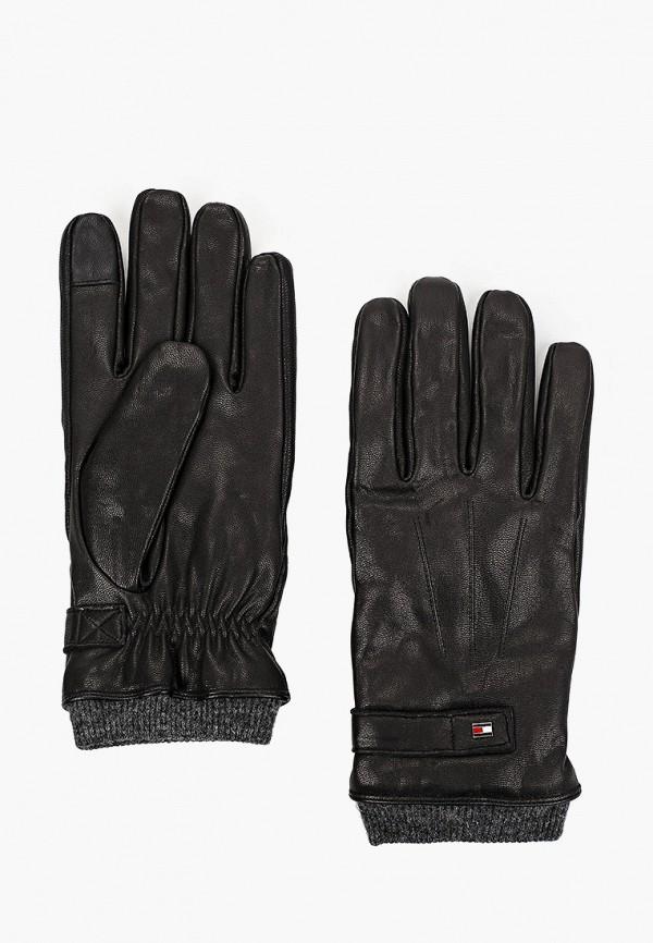 мужские кожаные перчатки tommy hilfiger, черные