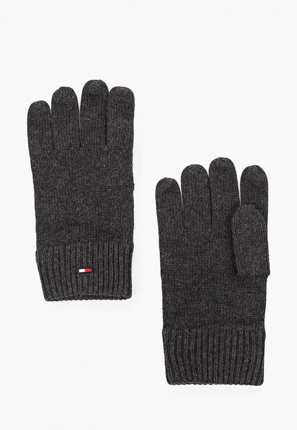 мужские текстильные перчатки tommy hilfiger, серые