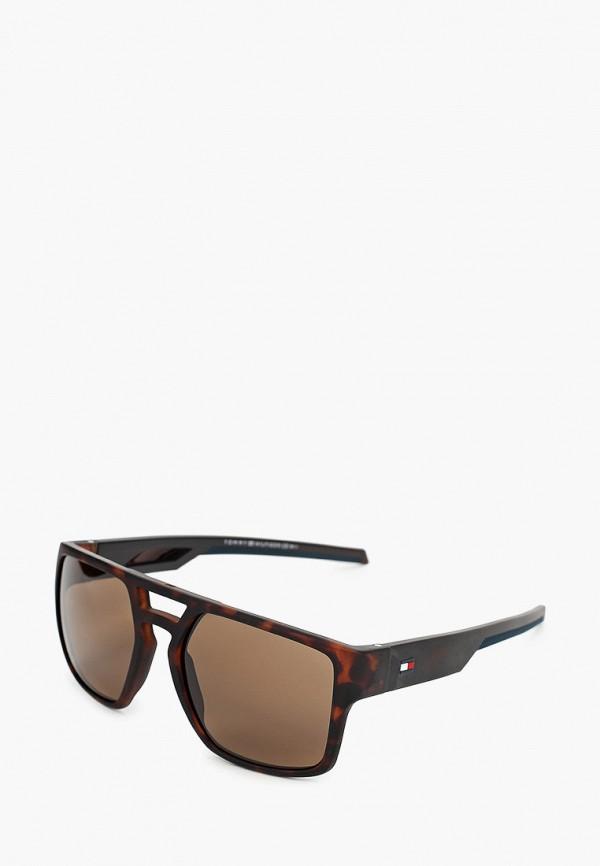 мужские квадратные солнцезащитные очки tommy hilfiger, коричневые
