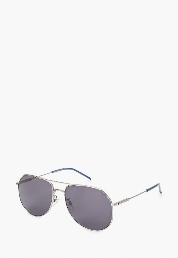женские авиаторы солнцезащитные очки tommy hilfiger, серебряные