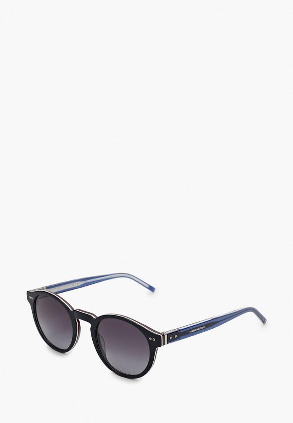 женские круглые солнцезащитные очки tommy hilfiger, синие
