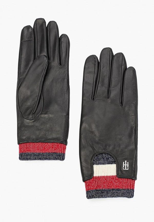 женские перчатки tommy hilfiger, черные