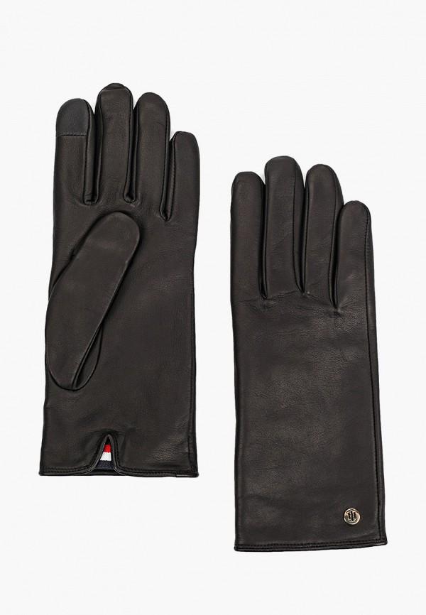 женские кожаные перчатки tommy hilfiger, черные