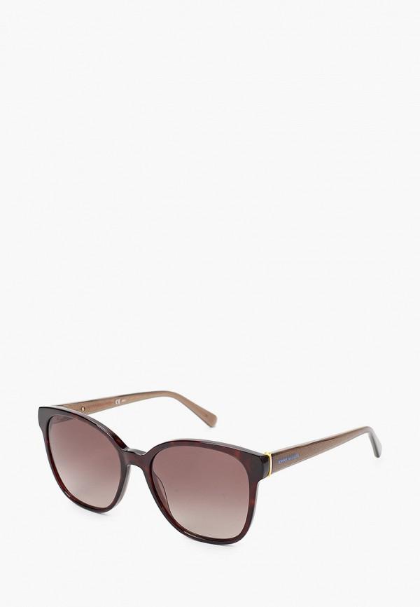 женские квадратные солнцезащитные очки tommy hilfiger, коричневые