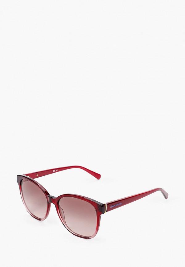 женские квадратные солнцезащитные очки tommy hilfiger, бордовые