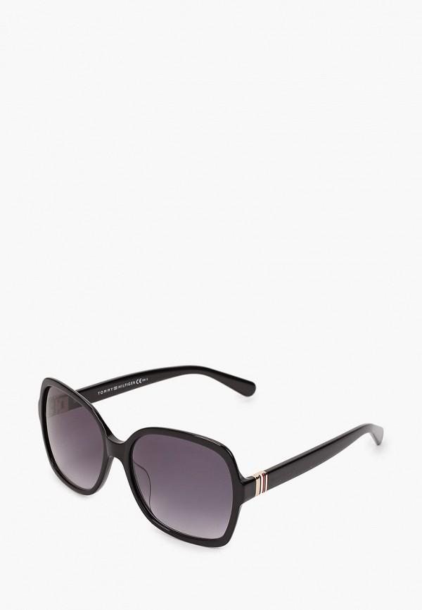 женские квадратные солнцезащитные очки tommy hilfiger, черные
