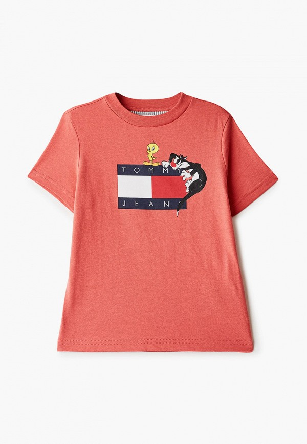 футболка с коротким рукавом tommy jeans для мальчика, красная
