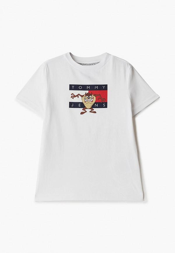футболка с коротким рукавом tommy jeans для мальчика, белая