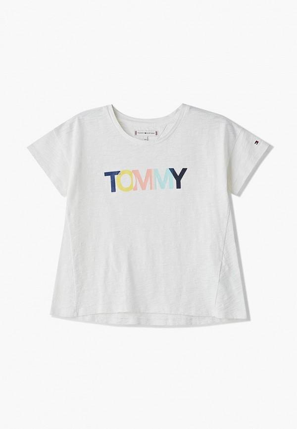 футболка с коротким рукавом tommy hilfiger для девочки, белая