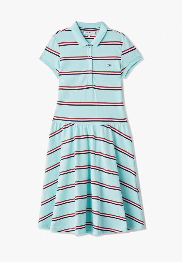 повседневные платье tommy hilfiger для девочки, бирюзовое