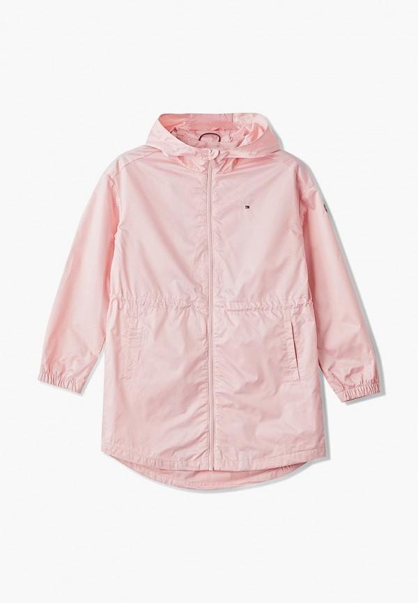 парка tommy hilfiger для девочки, розовая