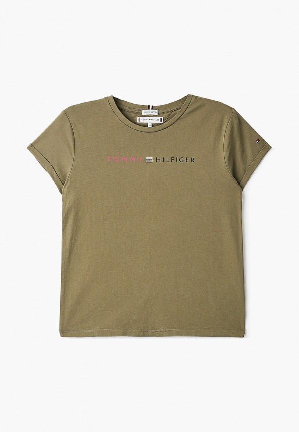 футболка с коротким рукавом tommy hilfiger для девочки, хаки
