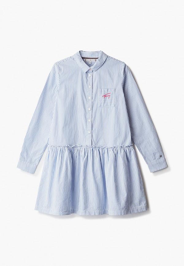 повседневные платье tommy hilfiger для девочки, голубое