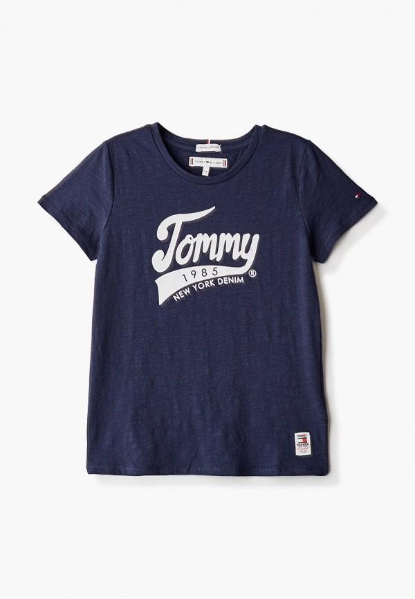 футболка с коротким рукавом tommy hilfiger для девочки, синяя