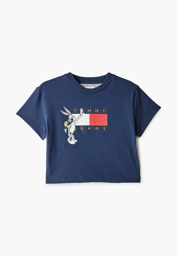 футболка с коротким рукавом tommy jeans для девочки, синяя