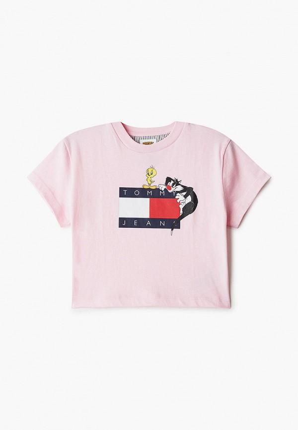 футболка с коротким рукавом tommy jeans для девочки, розовая