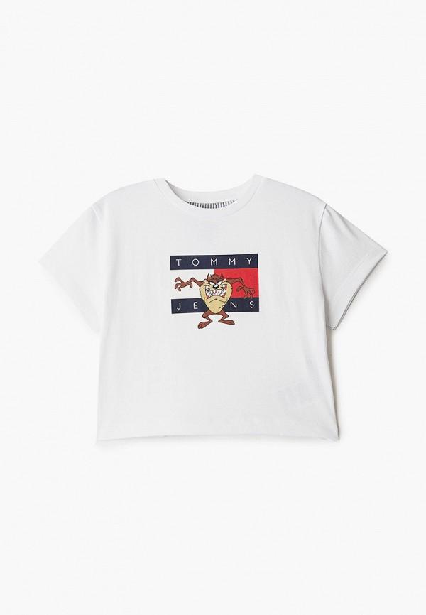 футболка с коротким рукавом tommy jeans для девочки, белая