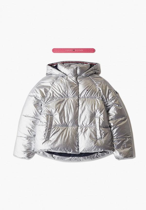 утепленные куртка tommy hilfiger для девочки, серебряная