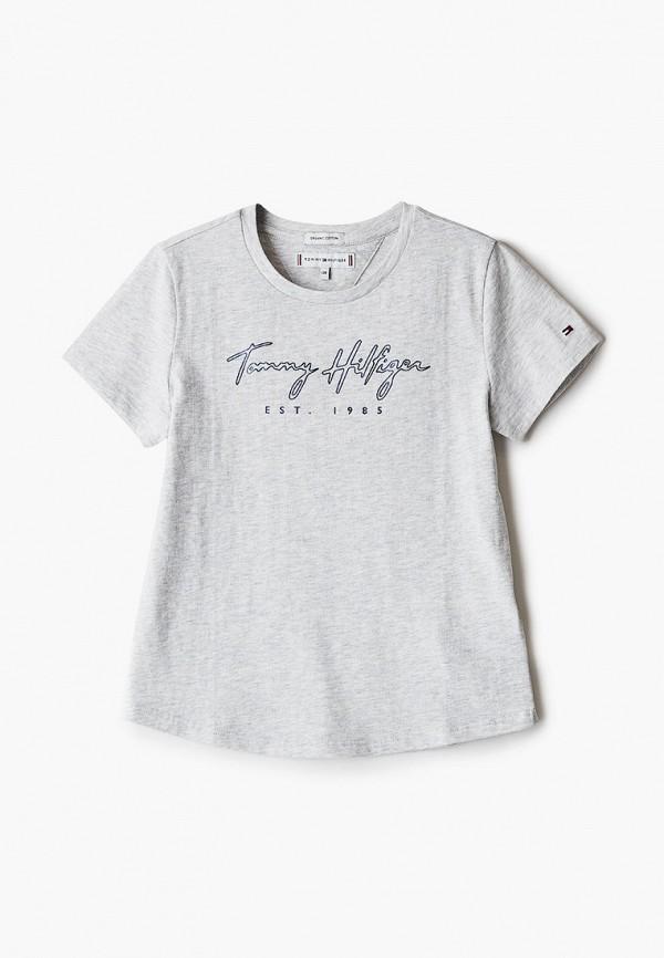 футболка с коротким рукавом tommy hilfiger для девочки, серая
