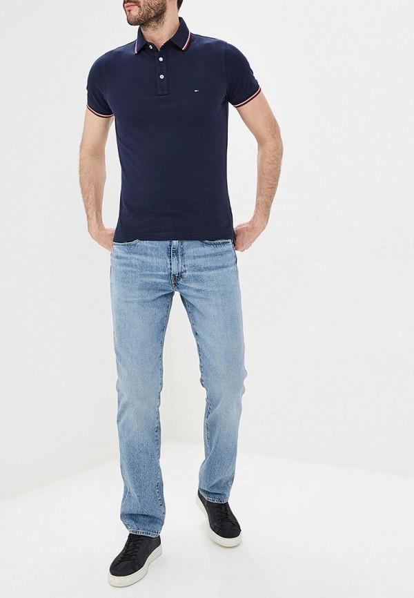 Фото 2 - мужское поло Tommy Hilfiger синего цвета