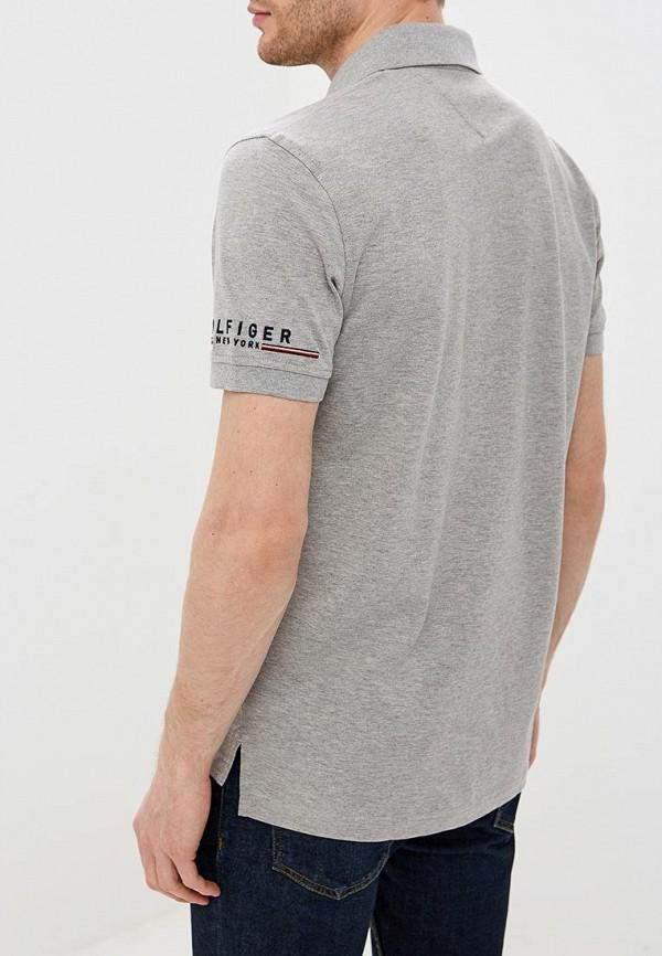 Фото 3 - мужское поло Tommy Hilfiger серого цвета