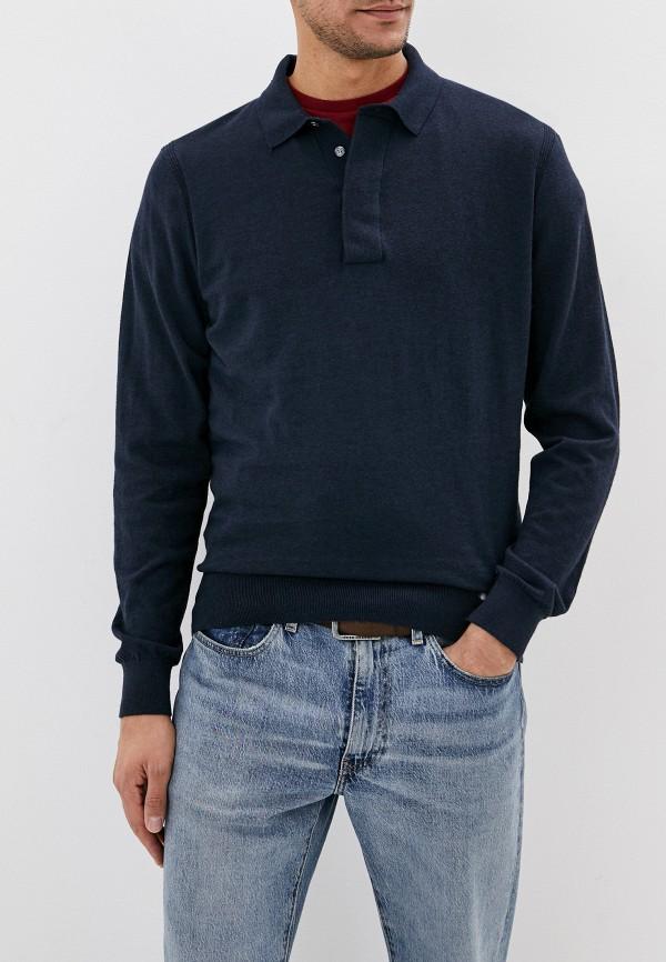 мужское поло с длинным рукавом tommy hilfiger, синее