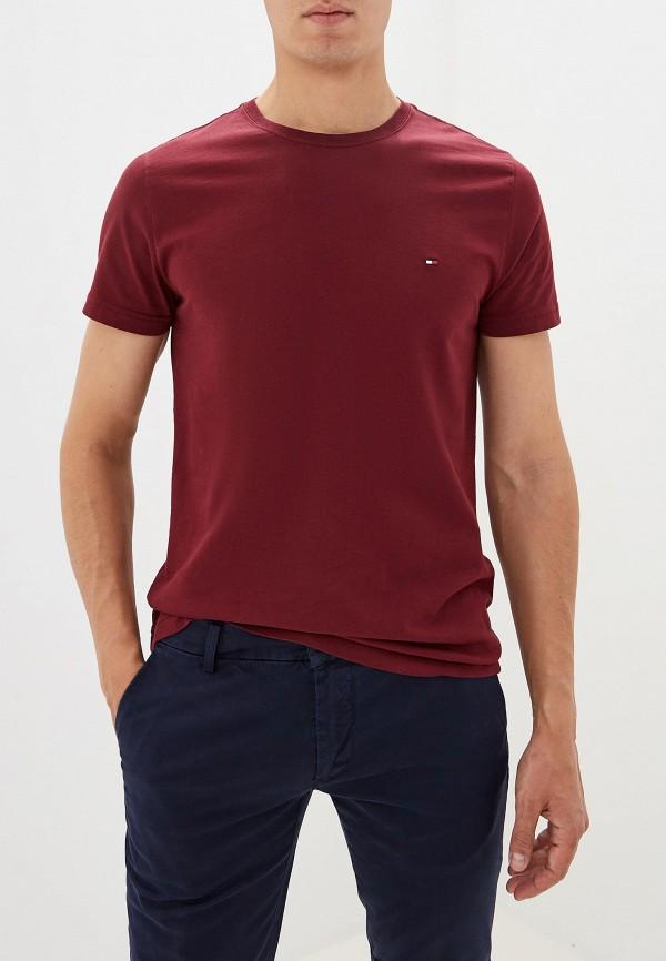 мужская футболка с коротким рукавом tommy hilfiger, бордовая