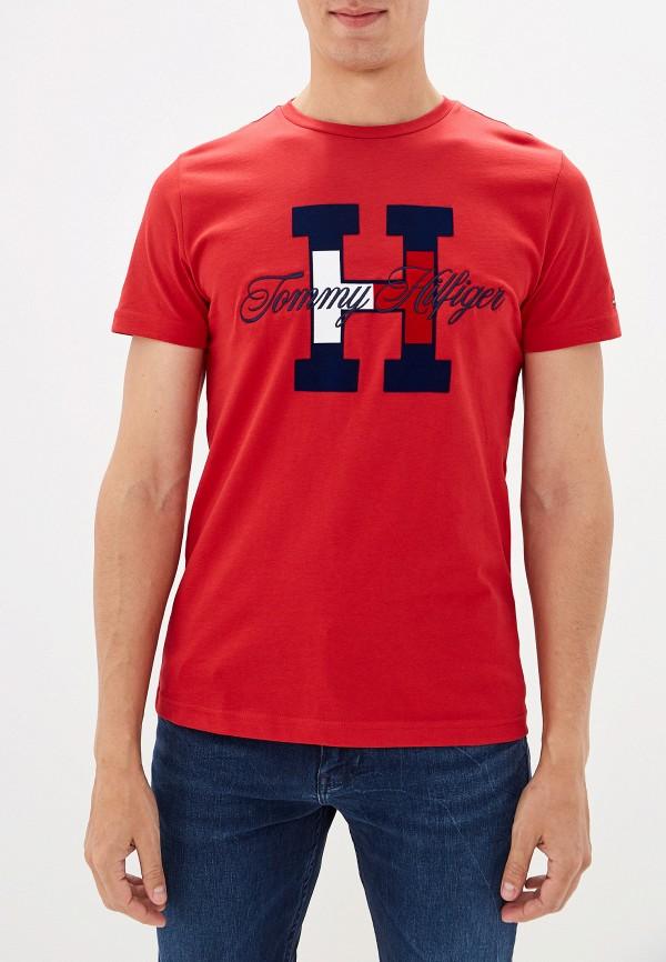 мужская футболка с коротким рукавом tommy hilfiger, красная