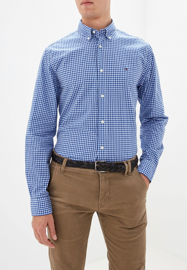 мужская рубашка tommy hilfiger, синяя