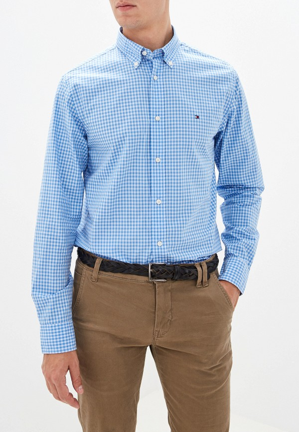 мужская рубашка tommy hilfiger, голубая