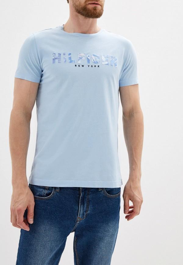 Фото - Мужскую футболку Tommy Hilfiger голубого цвета