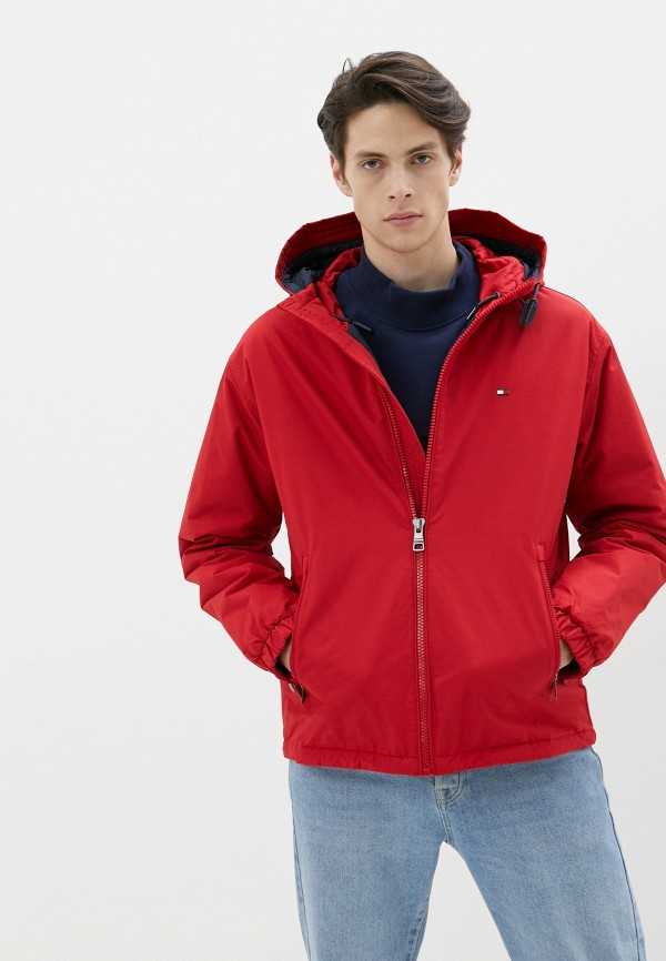 мужская утепленные куртка tommy hilfiger, красная