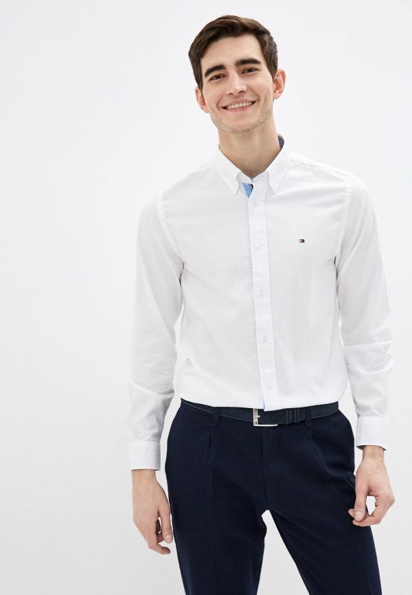 мужская рубашка с длинным рукавом tommy hilfiger, белая