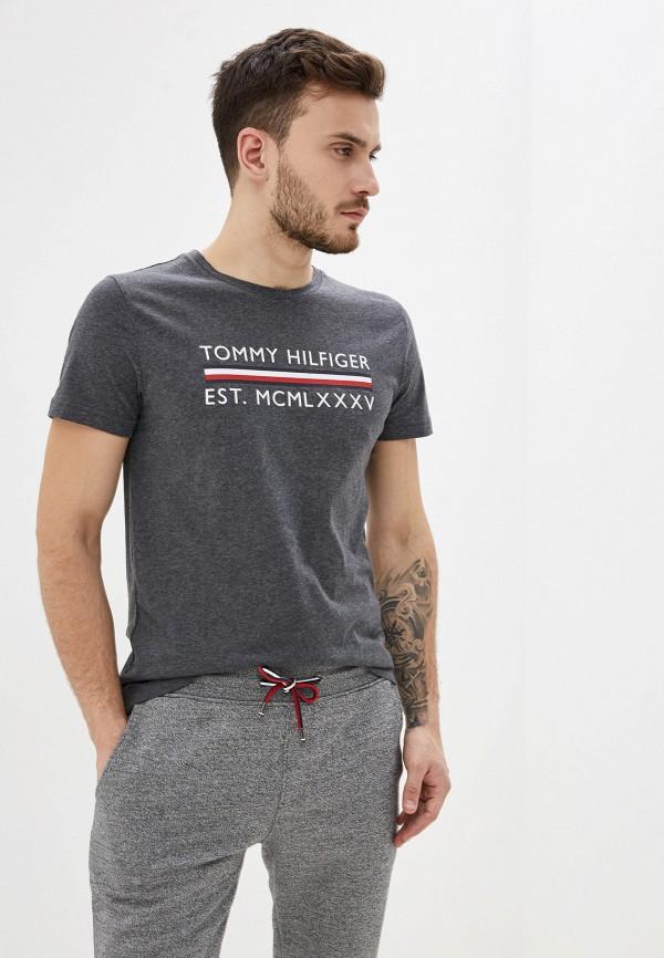 мужская футболка с коротким рукавом tommy hilfiger, серая