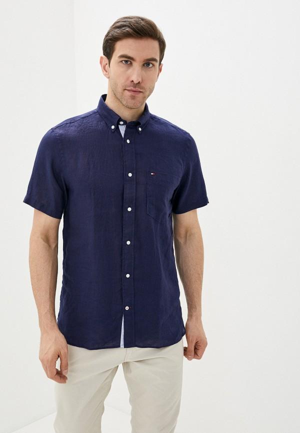 мужская рубашка с коротким рукавом tommy hilfiger, синяя