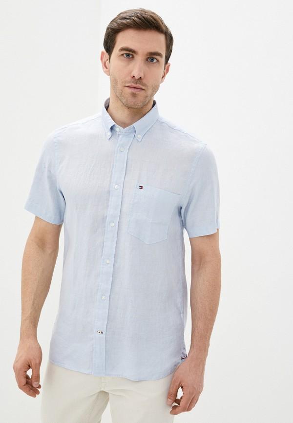 мужская рубашка с коротким рукавом tommy hilfiger, голубая