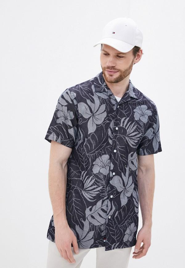мужская рубашка с коротким рукавом tommy hilfiger, серая
