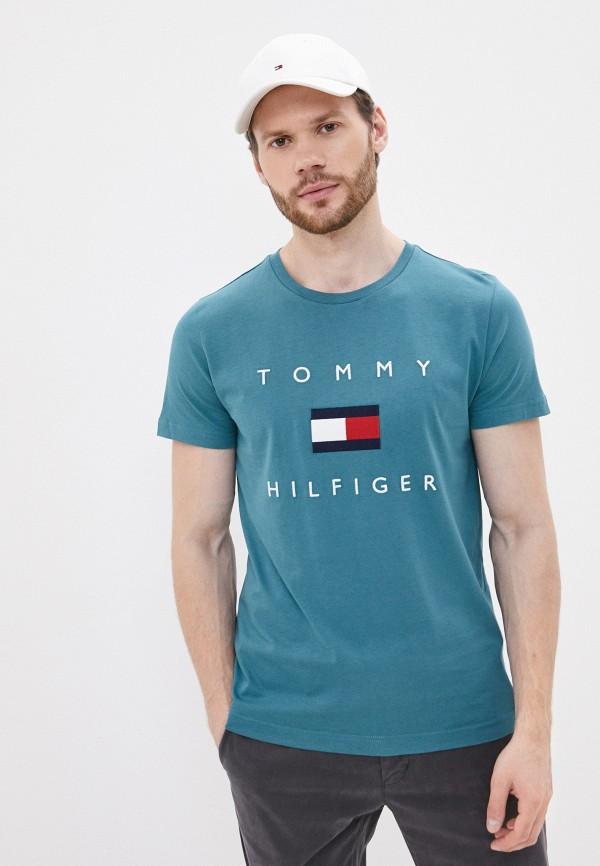 мужская футболка с коротким рукавом tommy hilfiger, зеленая