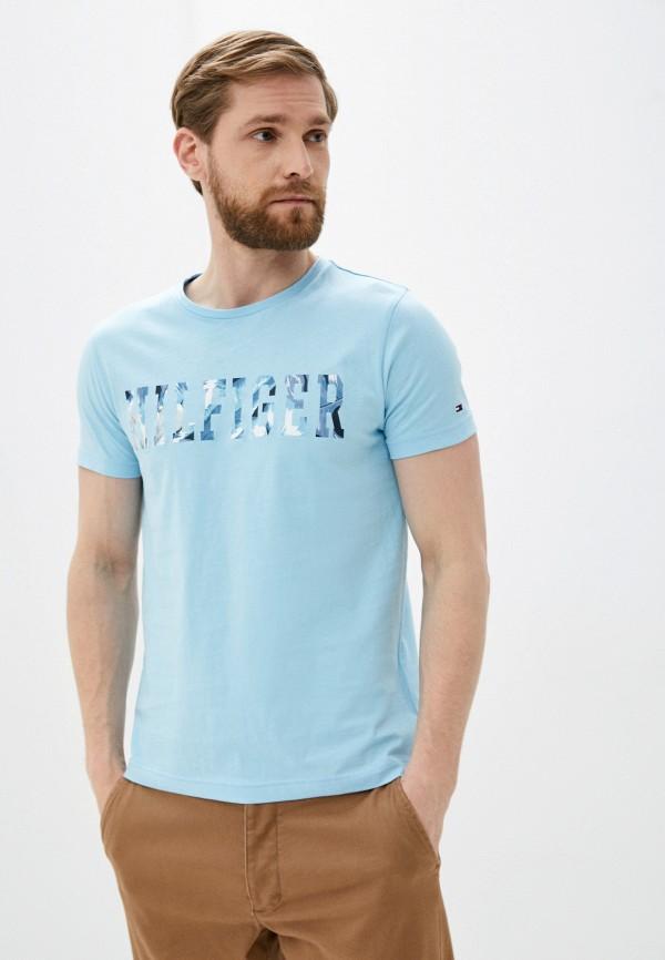 мужская футболка с коротким рукавом tommy hilfiger, голубая